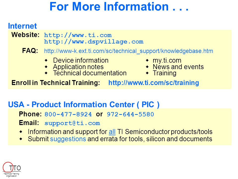For More Information . . . Internet