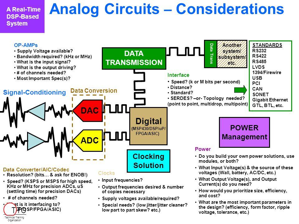 Analog Circuits – Considerations