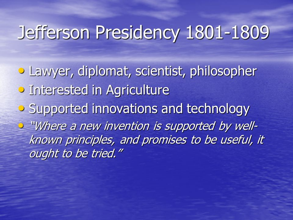 Jefferson Presidency 1801-1809