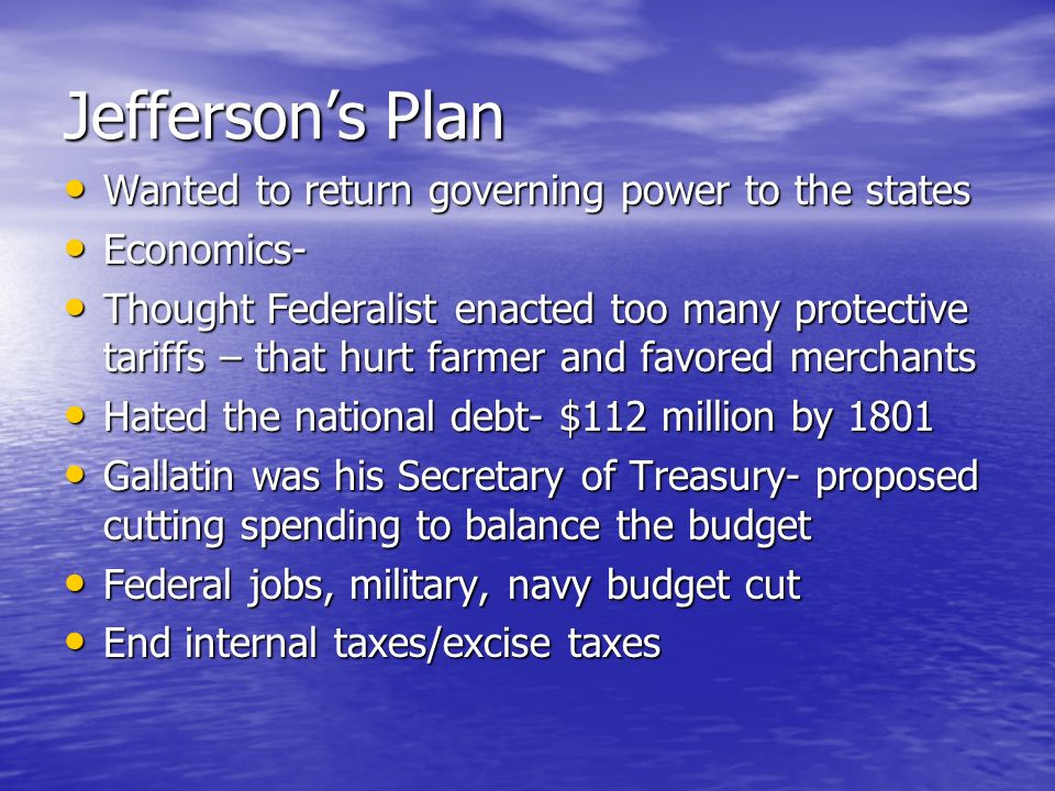 Jefferson's Plan Wanted to return governing power to the states