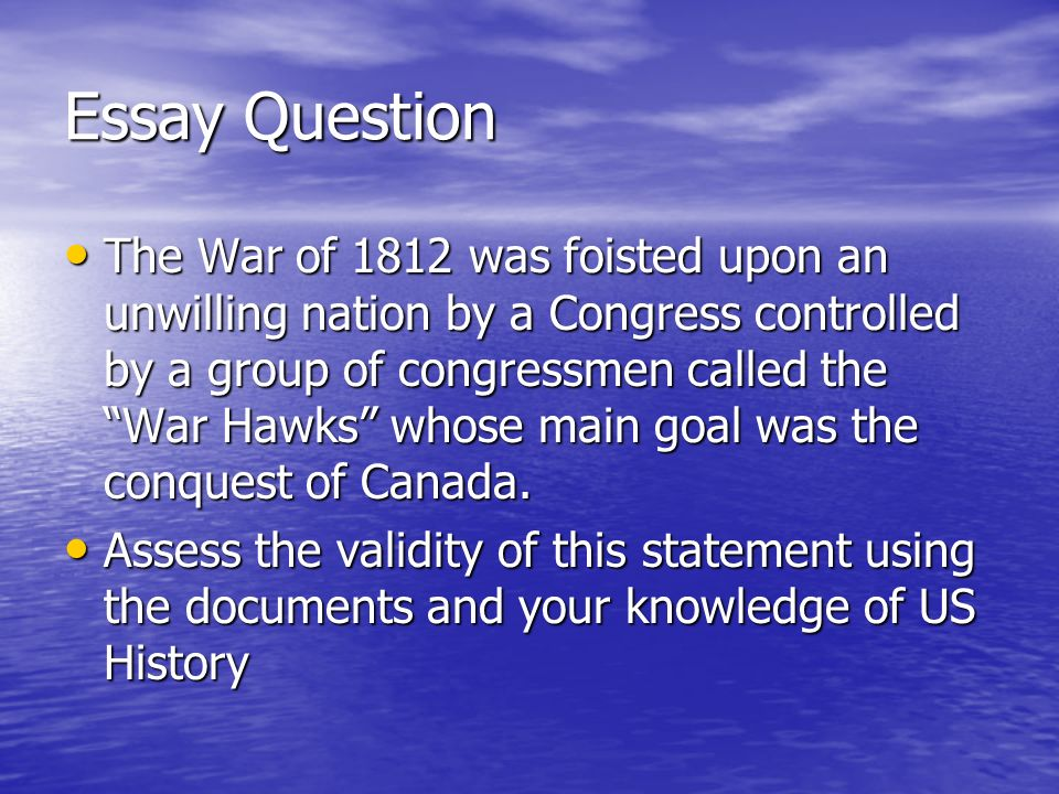 jefferson madison and the war of ppt  essay question