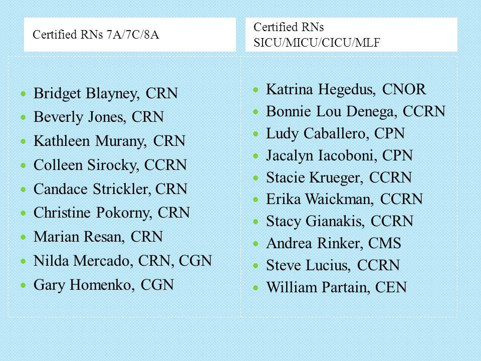 Bridget Blayney, CRN Katrina Hegedus, CNOR Bonnie Lou Denega, CCRN
