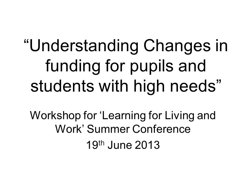 Workshop for 'Learning for Living and Work' Summer Conference