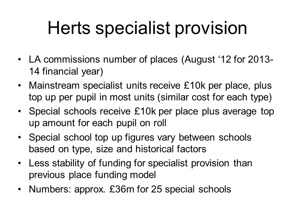 Herts specialist provision