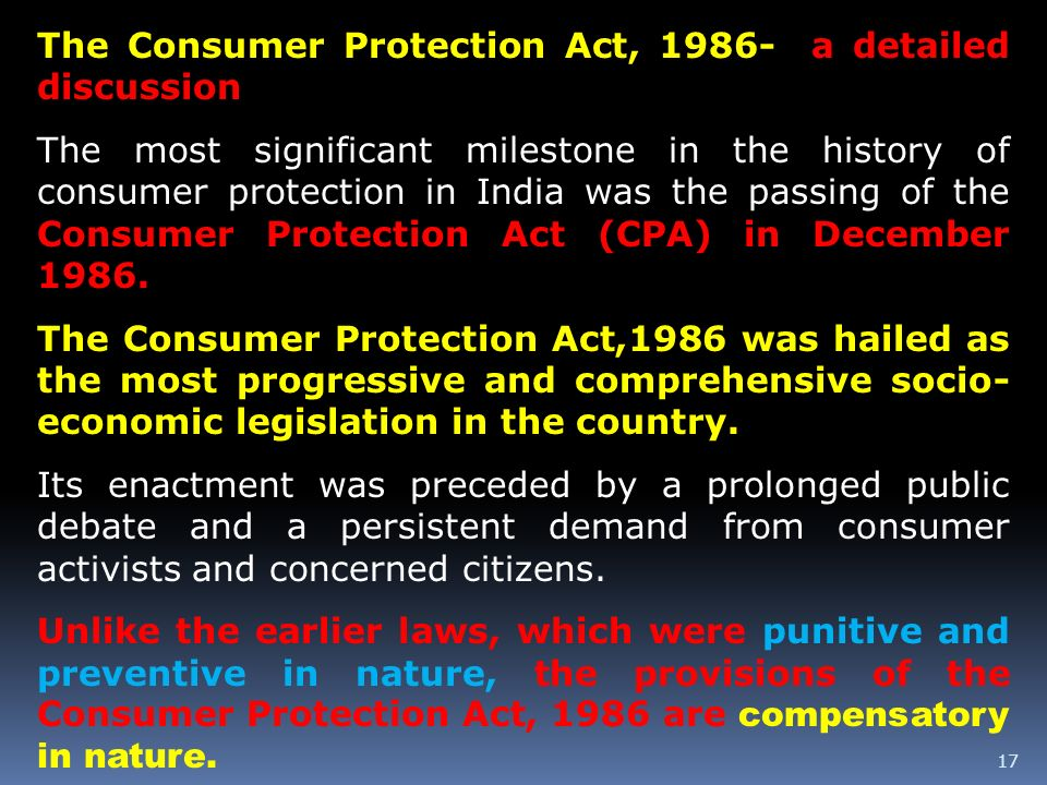The Consumer Protection Act, a detailed discussion
