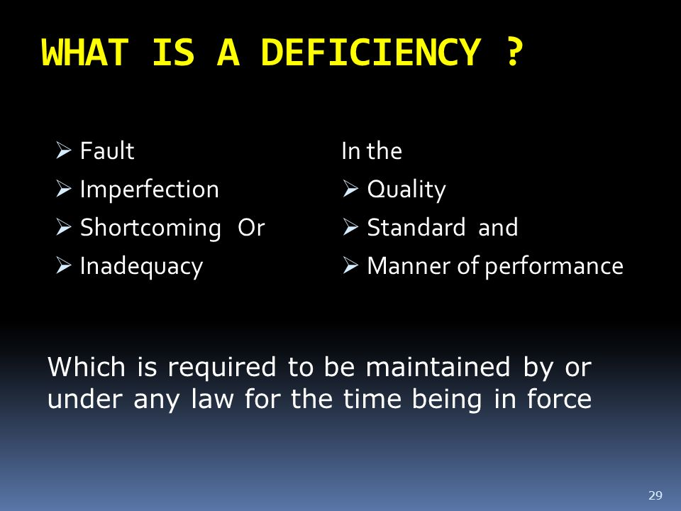 WHAT IS A DEFICIENCY Fault Imperfection Shortcoming Or Inadequacy