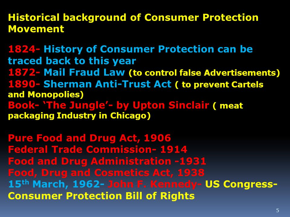 Historical background of Consumer Protection Movement