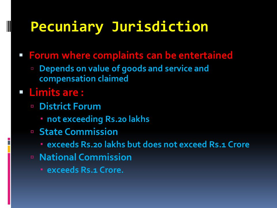 Pecuniary Jurisdiction