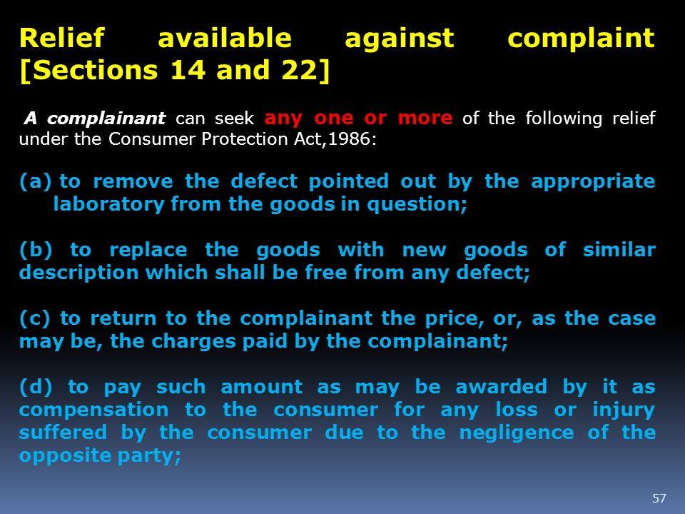 Relief available against complaint [Sections 14 and 22]