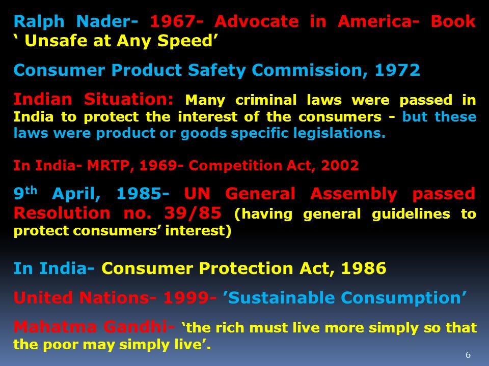 Ralph Nader Advocate in America- Book ' Unsafe at Any Speed'