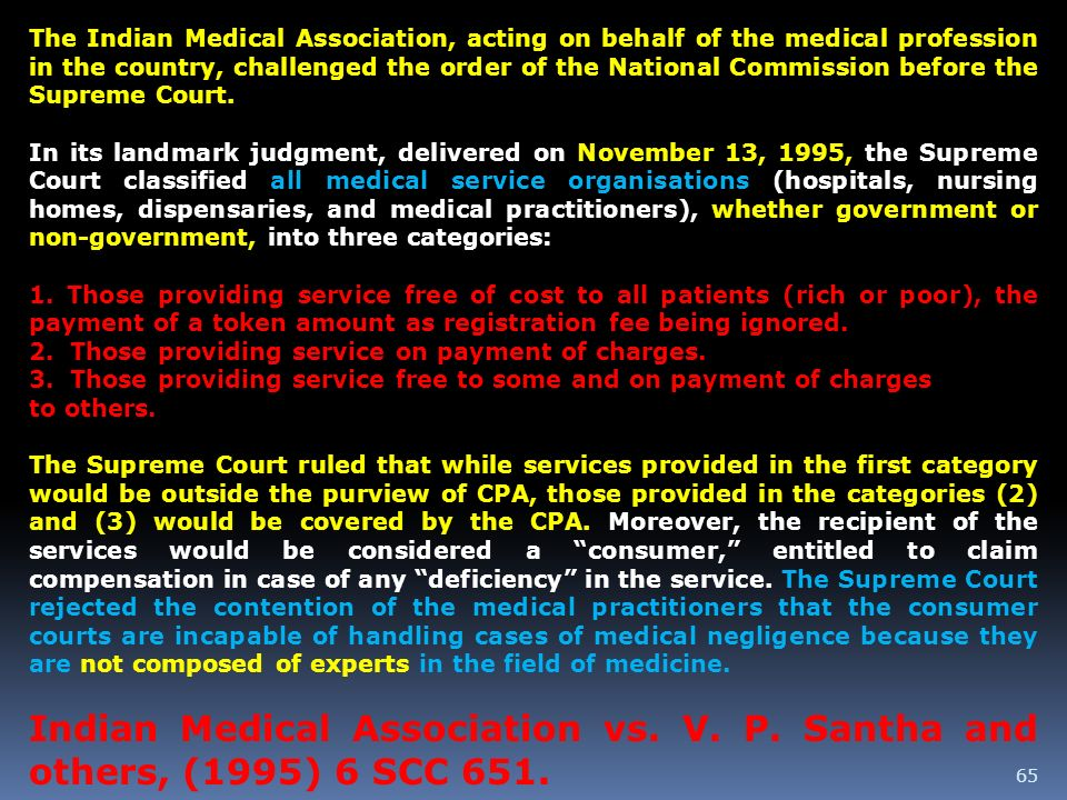 The Indian Medical Association, acting on behalf of the medical profession in the country, challenged the order of the National Commission before the Supreme Court.