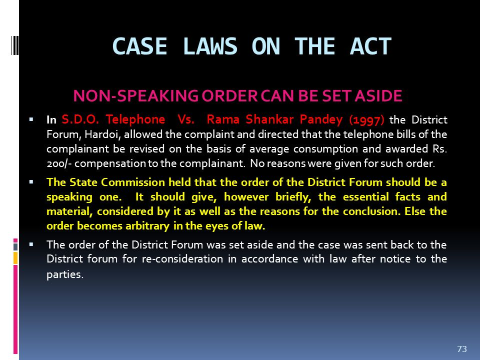 NON-SPEAKING ORDER CAN BE SET ASIDE