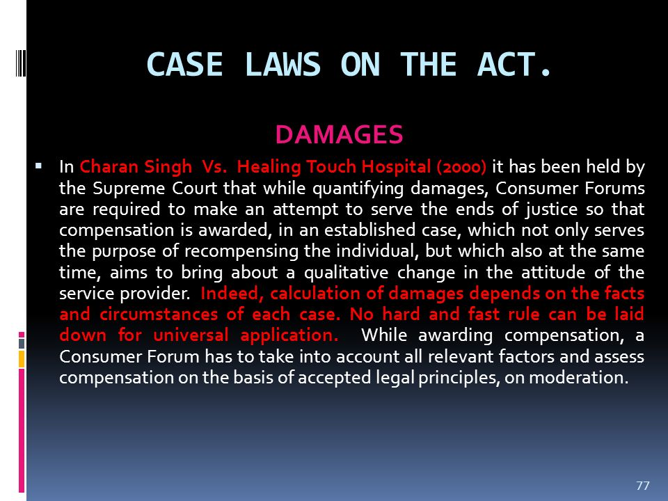 CASE LAWS ON THE ACT. DAMAGES