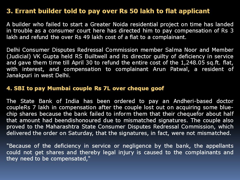 3. Errant builder told to pay over Rs 50 lakh to flat applicant