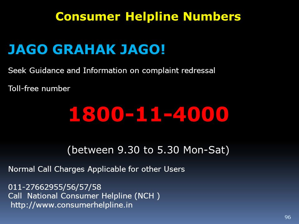 Consumer Helpline Numbers