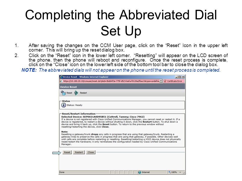 Completing the Abbreviated Dial Set Up
