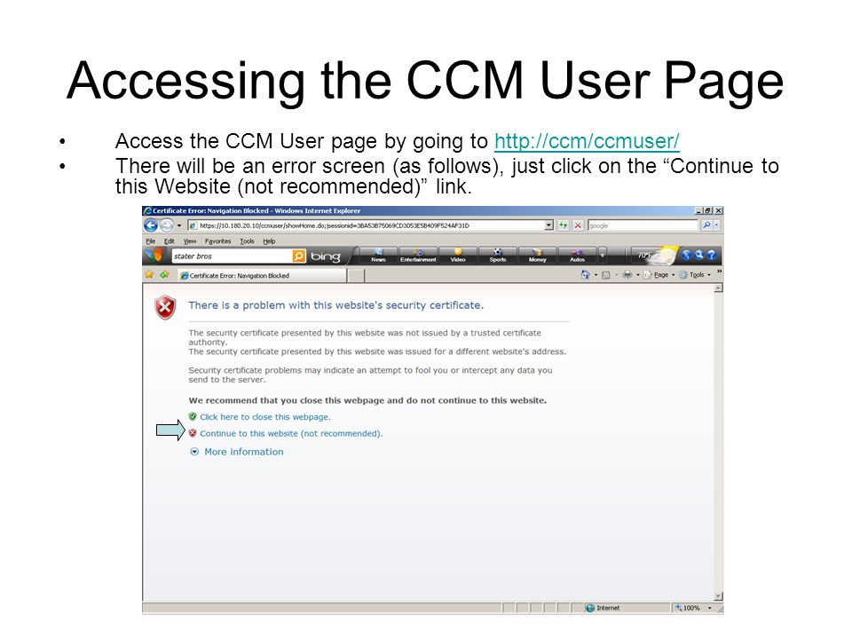 Accessing the CCM User Page