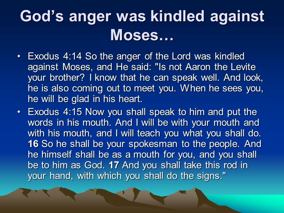 God's anger was kindled against Moses…