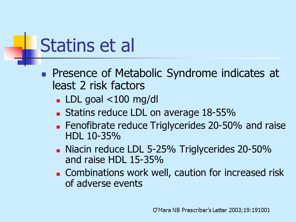 Statins et al Presence of Metabolic Syndrome indicates at least 2 risk factors. LDL goal <100 mg/dl.