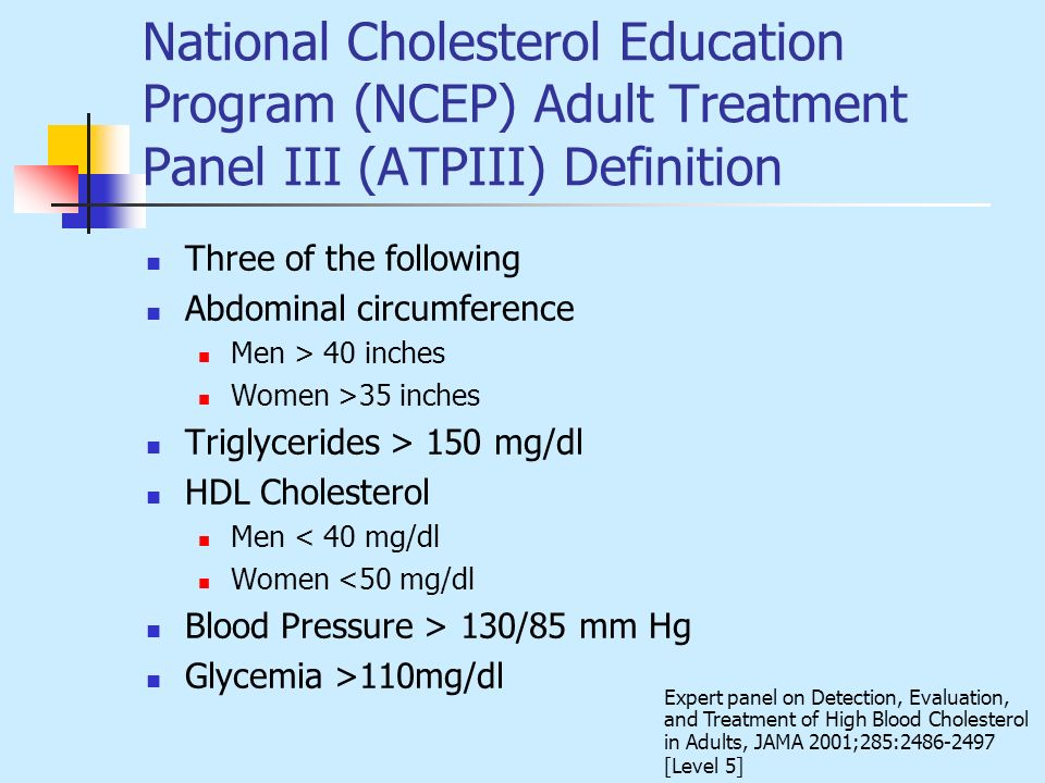 National Cholesterol Education Program (NCEP) Adult Treatment Panel III (ATPIII) Definition
