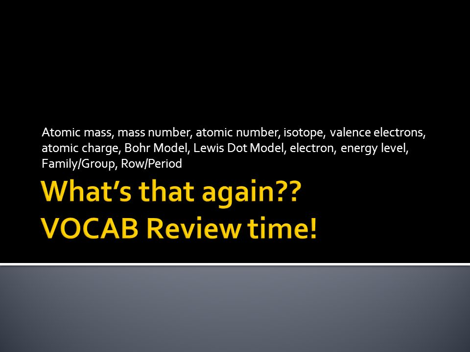 What's that again VOCAB Review time!