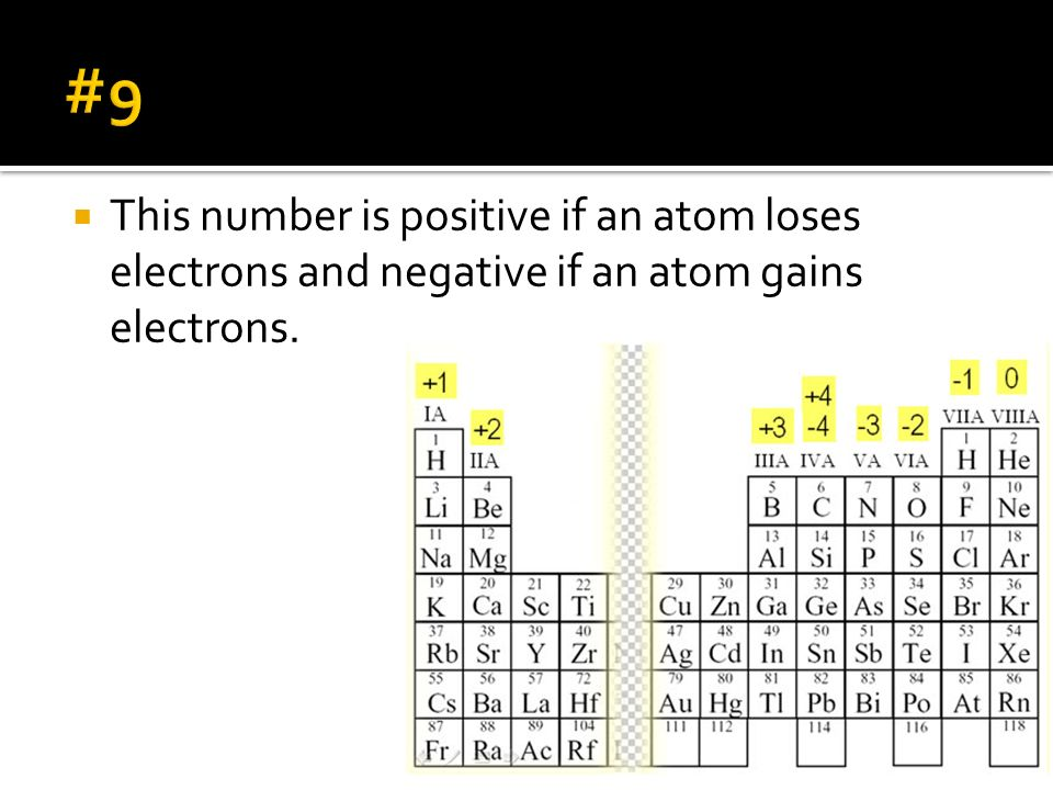 #9 This number is positive if an atom loses electrons and negative if an atom gains electrons.
