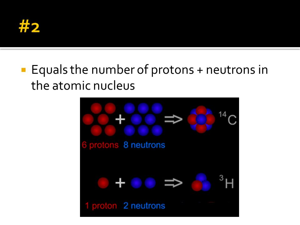 #2 Equals the number of protons + neutrons in the atomic nucleus