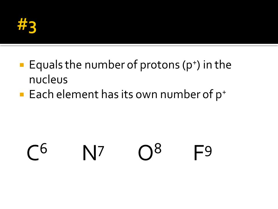 C6 N7 O8 F9 #3 Equals the number of protons (p+) in the nucleus