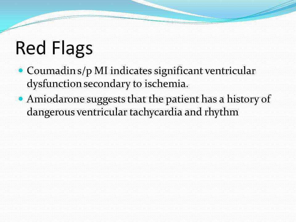 Red Flags Coumadin s/p MI indicates significant ventricular dysfunction secondary to ischemia.