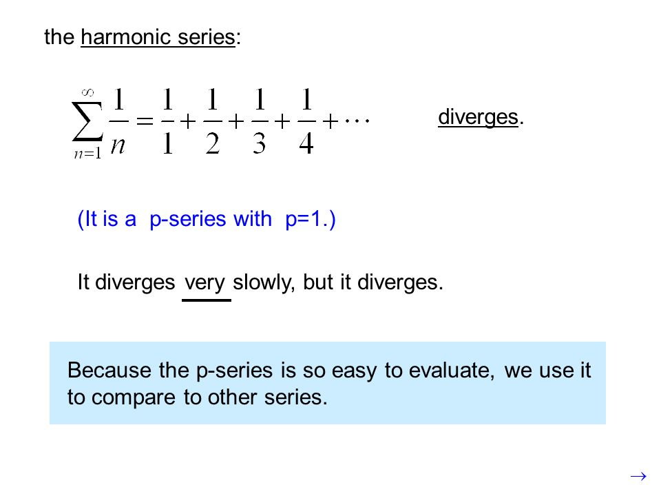 the harmonic series: diverges. (It is a p-series with p=1.) It diverges very slowly, but it diverges.