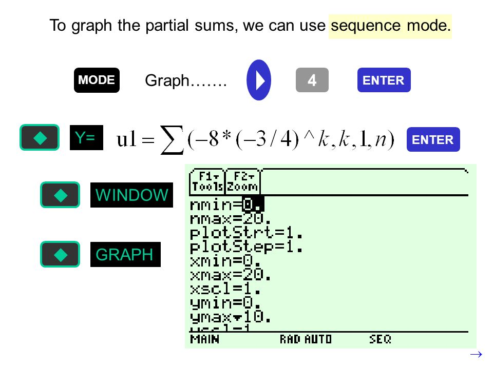 To graph the partial sums, we can use sequence mode.