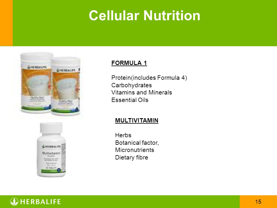 Cellular Nutrition FORMULA 1 Protein(includes Formula 4) Carbohydrates