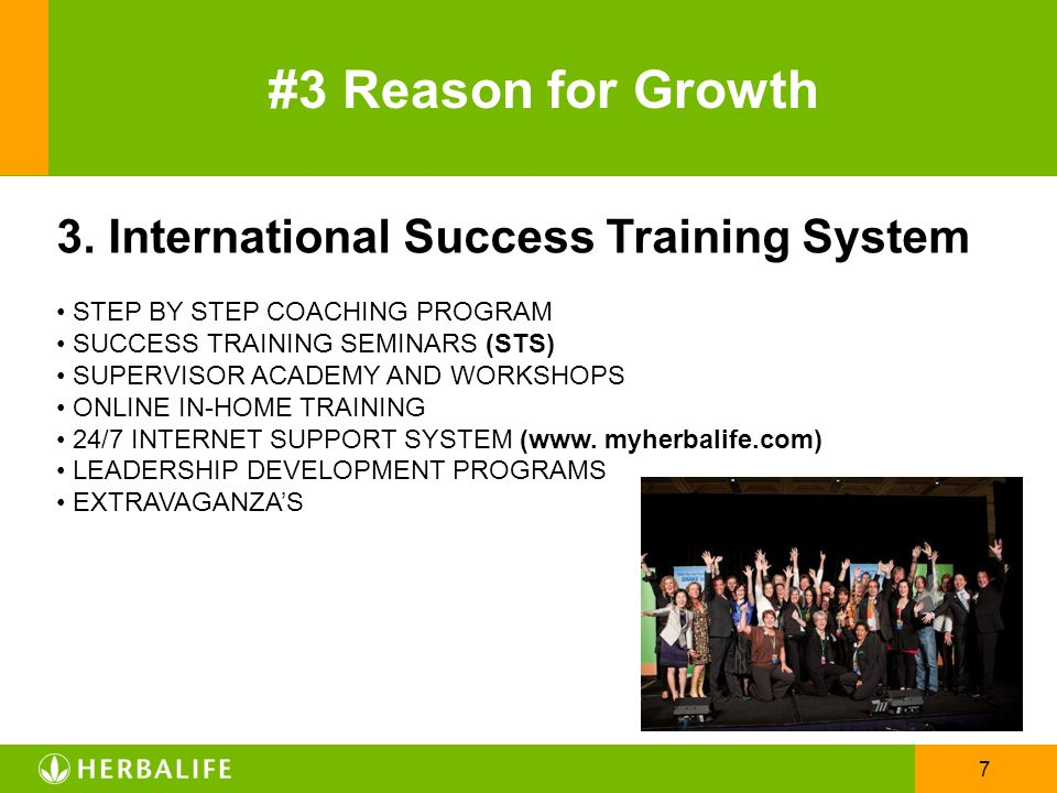 #3 Reason for Growth 3. International Success Training System