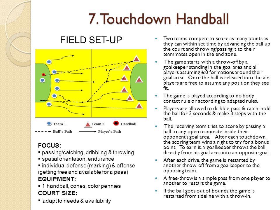 7. Touchdown Handball FIELD SET-UP FOCUS: EQUIPMENT: COURT SIZE: