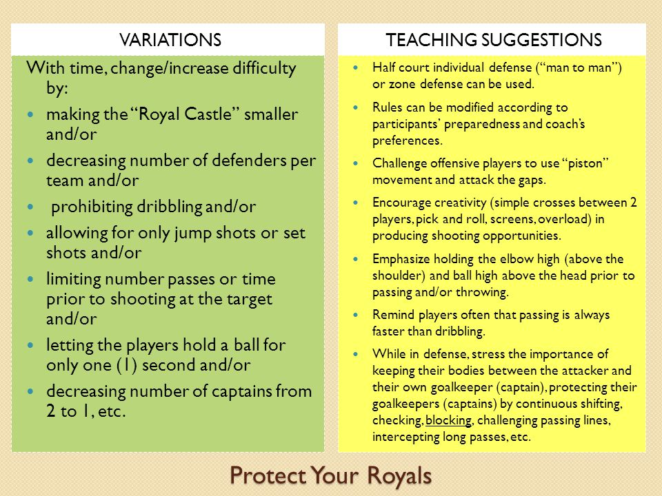 Protect Your Royals VARIATIONS TEACHING SUGGESTIONS