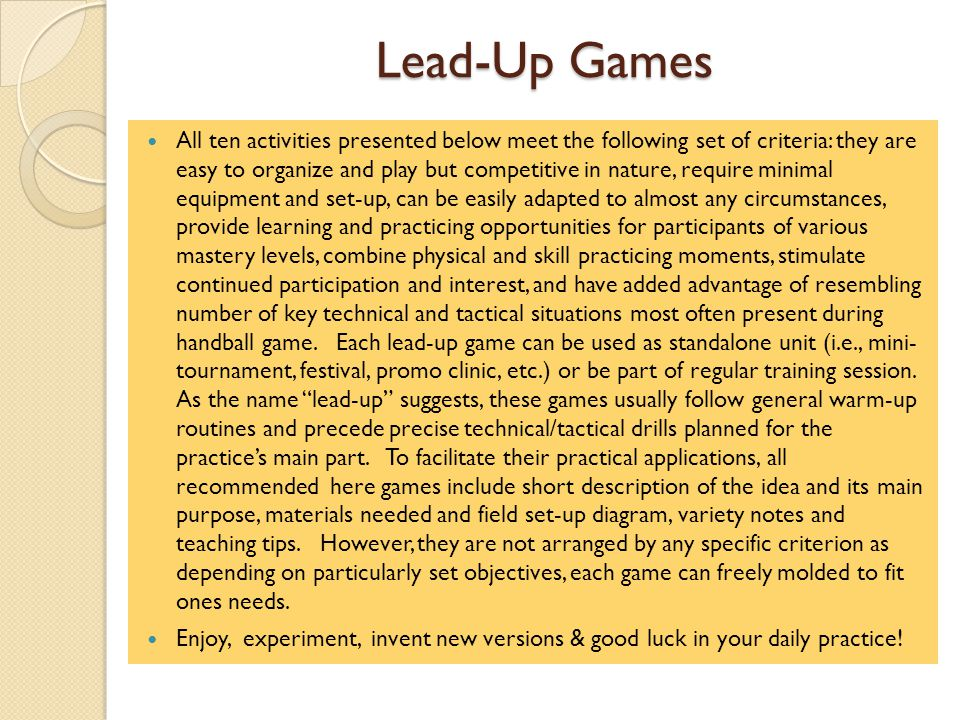 Lead-Up Games