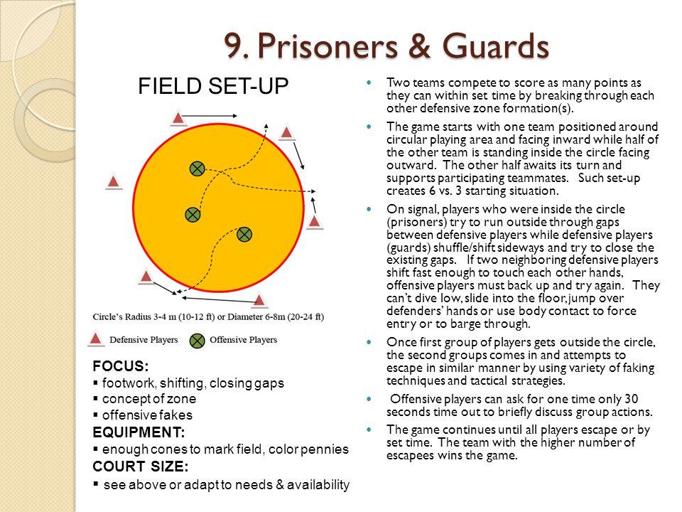 9. Prisoners & Guards FIELD SET-UP FOCUS: EQUIPMENT: COURT SIZE: