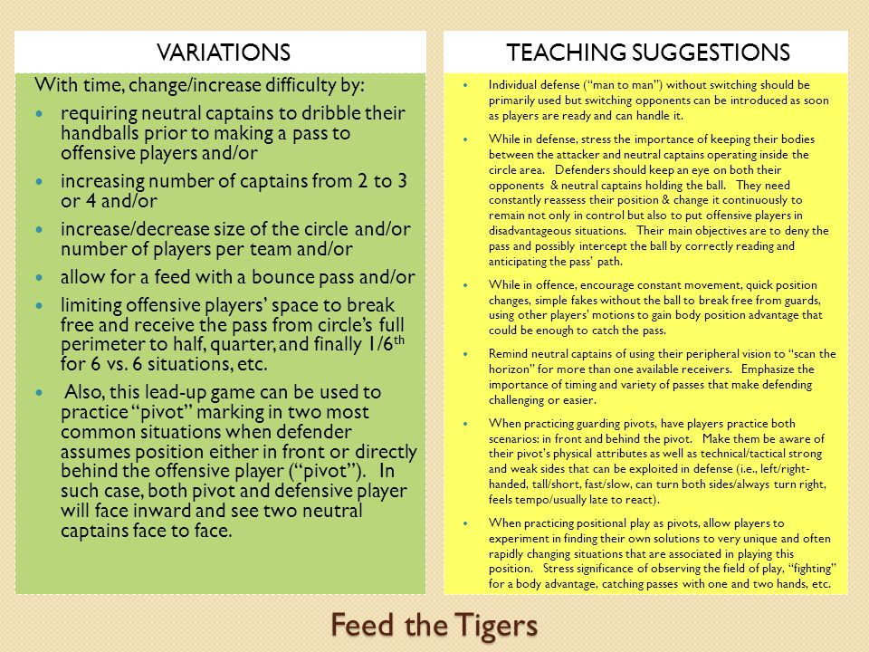 Feed the Tigers VARIATIONS TEACHING SUGGESTIONS