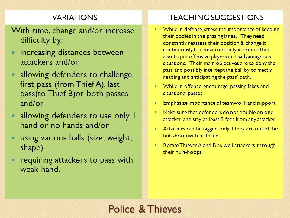 Police & Thieves With time, change and/or increase difficulty by: