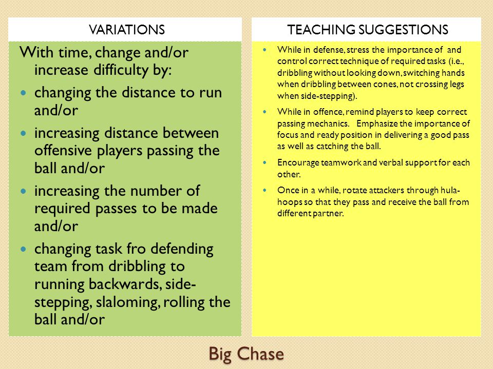 Big Chase With time, change and/or increase difficulty by: