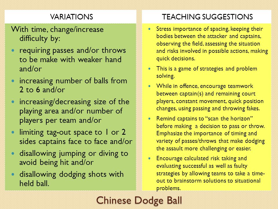 Chinese Dodge Ball With time, change/increase difficulty by: