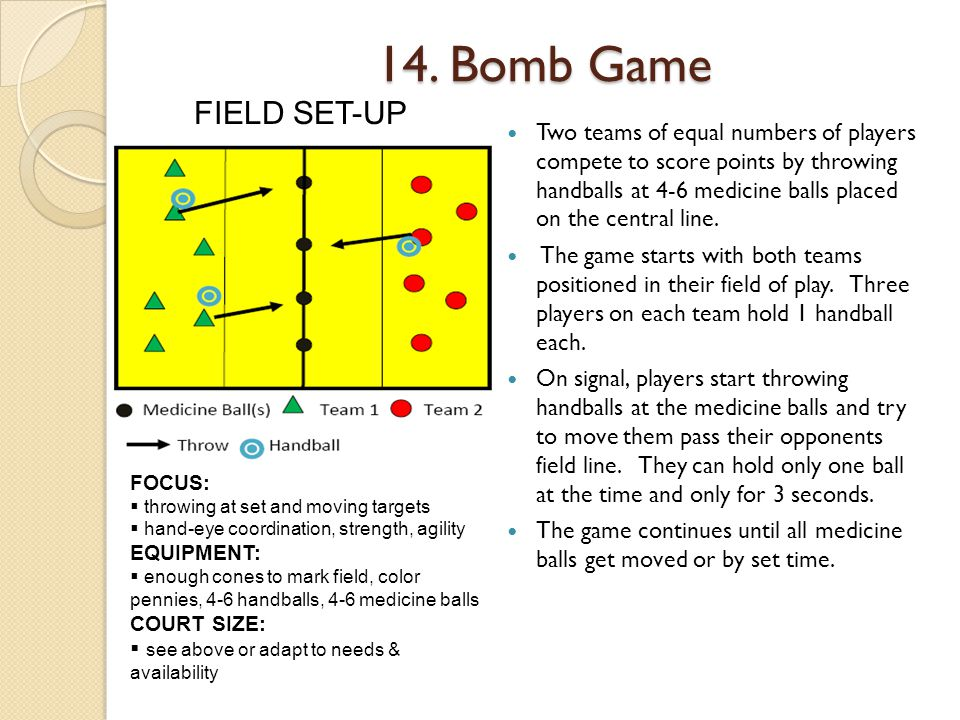 14. Bomb Game FIELD SET-UP.