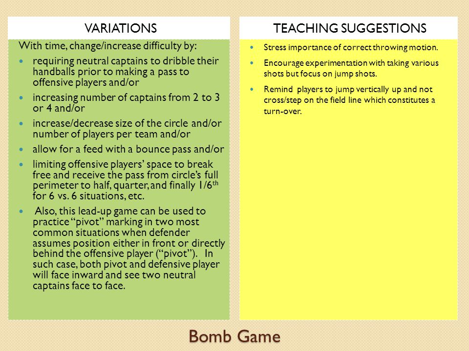 Bomb Game VARIATIONS TEACHING SUGGESTIONS