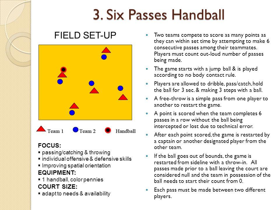 3. Six Passes Handball FIELD SET-UP FOCUS: EQUIPMENT: COURT SIZE: