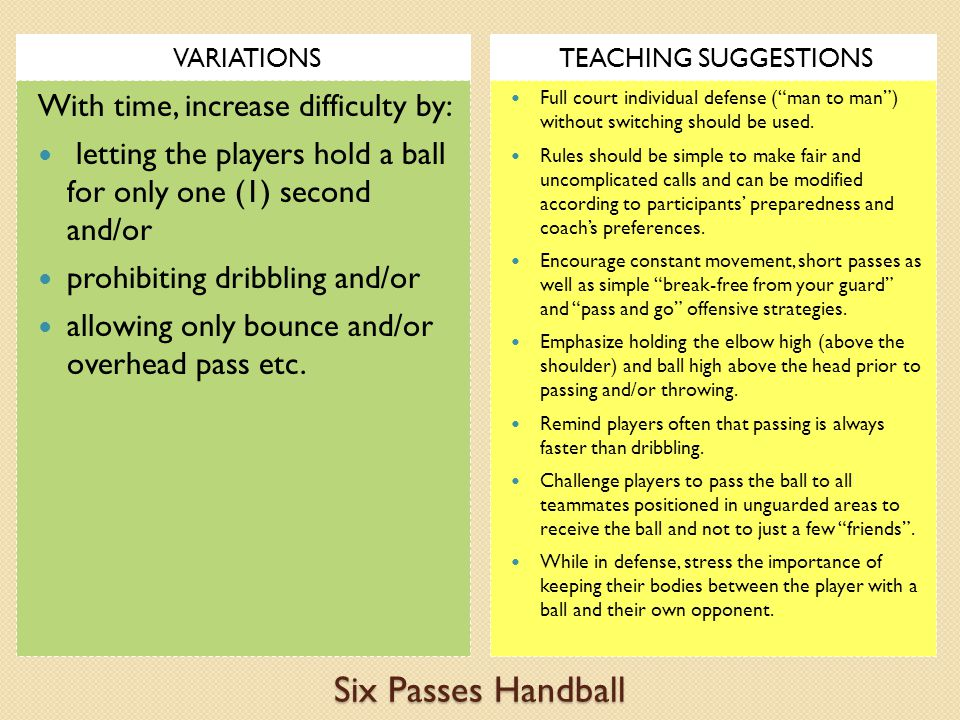 Six Passes Handball With time, increase difficulty by:
