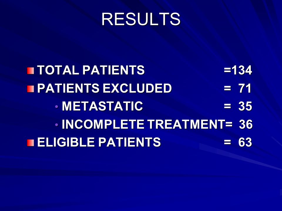 RESULTS TOTAL PATIENTS =134 PATIENTS EXCLUDED = 71 METASTATIC = 35