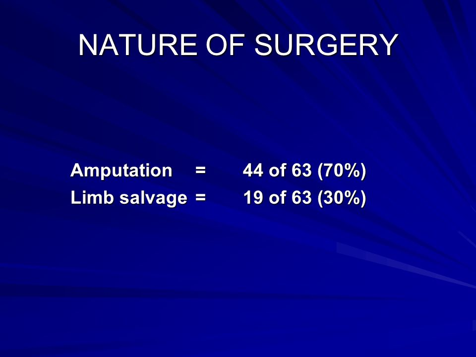 NATURE OF SURGERY Amputation = 44 of 63 (70%)