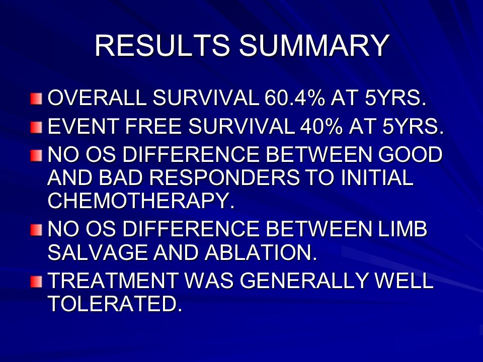 RESULTS SUMMARY OVERALL SURVIVAL 60.4% AT 5YRS.