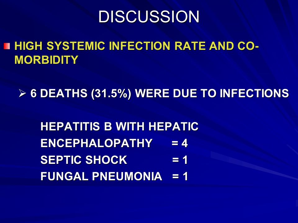 DISCUSSION HIGH SYSTEMIC INFECTION RATE AND CO-MORBIDITY