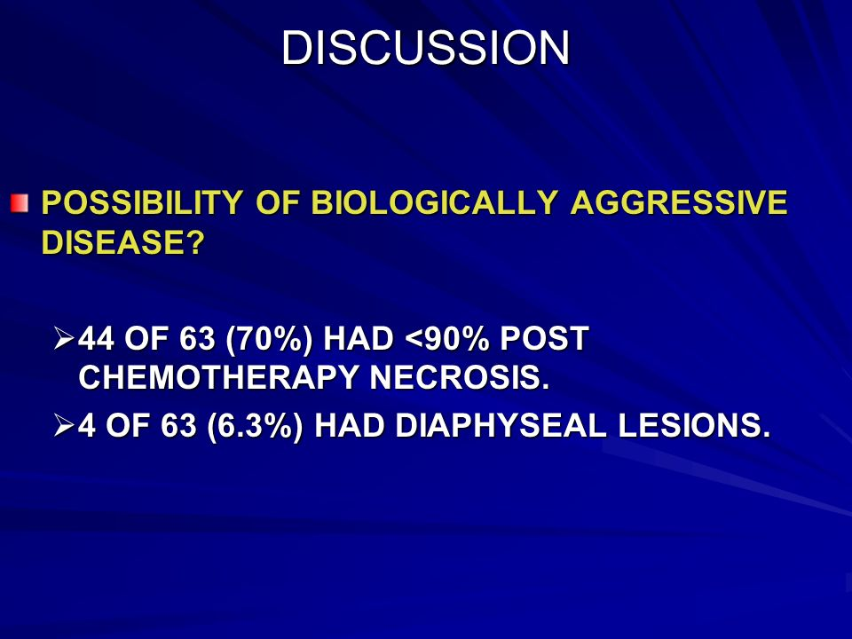 DISCUSSION POSSIBILITY OF BIOLOGICALLY AGGRESSIVE DISEASE